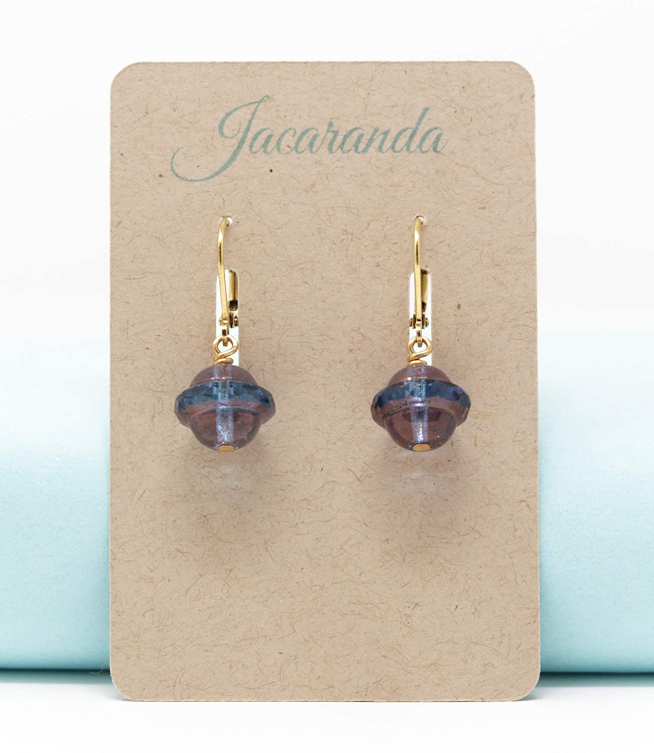 Rustic Blue Glass Beaded Drop Earrings With Gold Plated Lever Back Ear Wires
