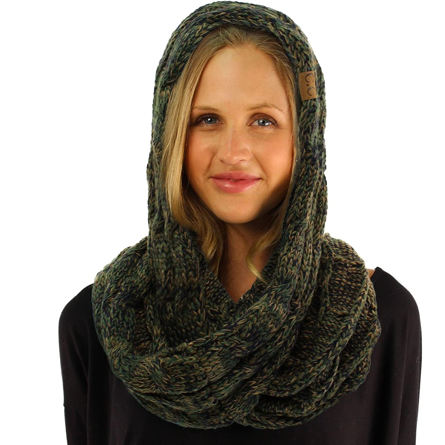 CC Quad Soft Chunky Warm Pullover Knit Long Infinity Hood Cowl Loop Scarf SK Hat Shop
