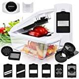 Vegetable Chopper All in One, Godmorn Newest 10 Pcs Multi-Function Vegetable Dicer, Mandolin Slicer with 6 Blades, Egg Separator, Juicer, Ribbon, Spiral, BPA Free,Best for Potato,Onion ect