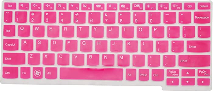 PcProfessional Hot Pink Ultra Thin Silicone Gel Keyboard Cover for Lenovo Ideapad Yoga 11, Flex 10, Flex 3 11, yoga3 11, miix 700 12, Yoga 700 11 100s Laptop (Please Compare Layout and Model)
