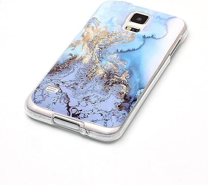 OYIME Coque en silicone souple pour Samsung Galaxy S5/S5 Neo avec film protecteur d'écran Motif marbre bleu brillant et doré