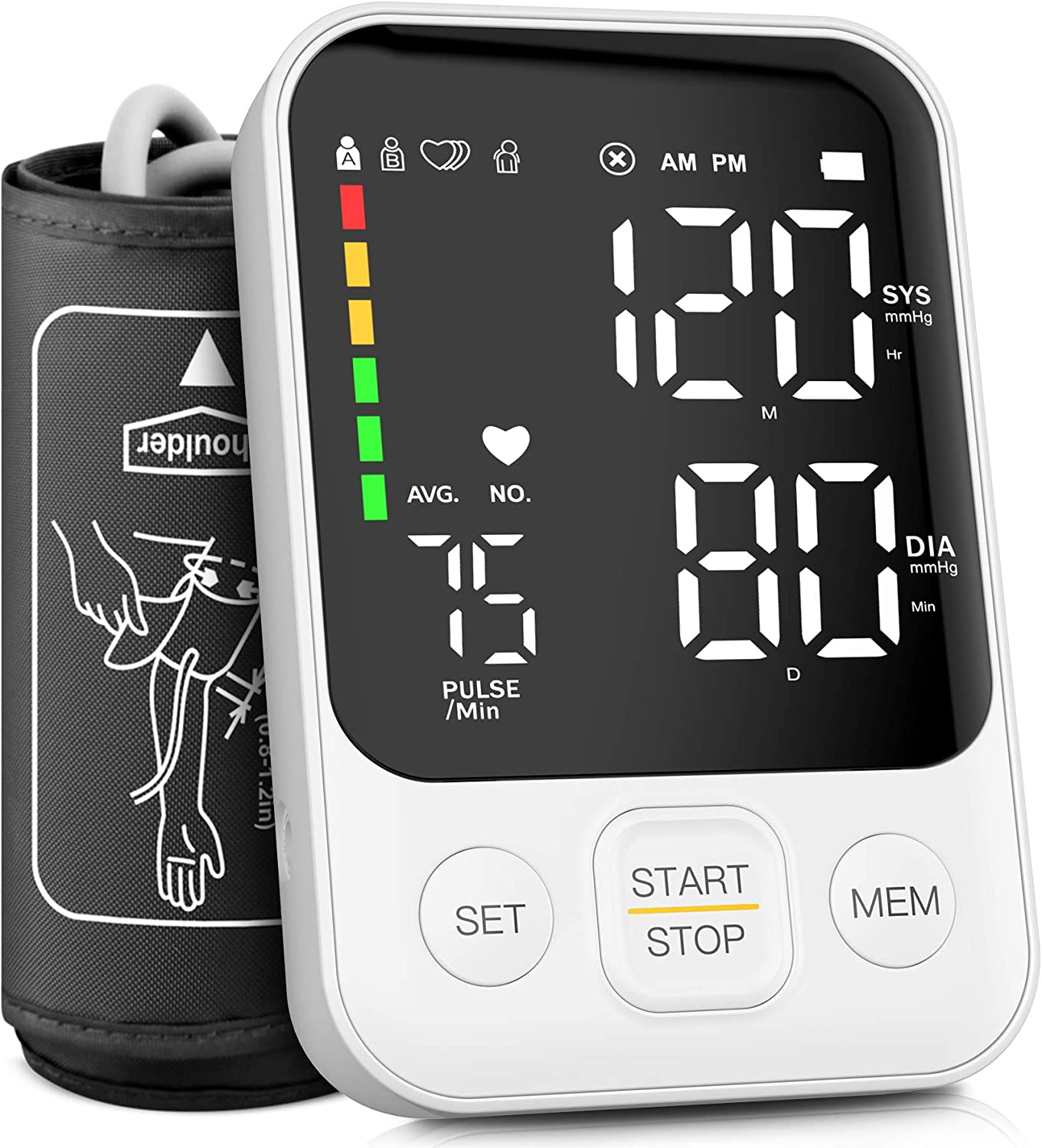 Blood Pressure Monitor Accurate Upper Arm Automatic Digital BP Machine with Adjustable Cuff, Large LED Display, Irregular Heart Checking for Home Use - 240 Sets Memory