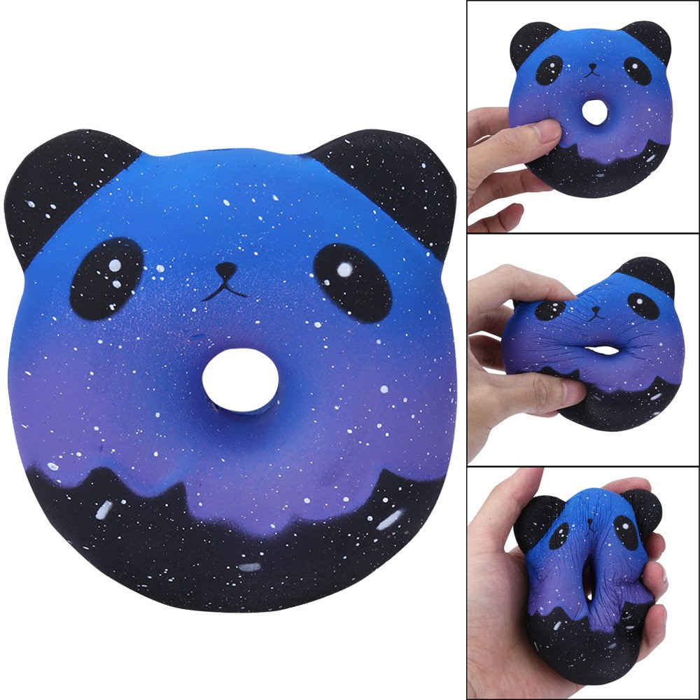 Jinjin Galaxy Panda Donuts Kawaii Toys,Squishy Slow Rising Cream Scented Decompression Toys Gift DIY Decoration (AS Show)