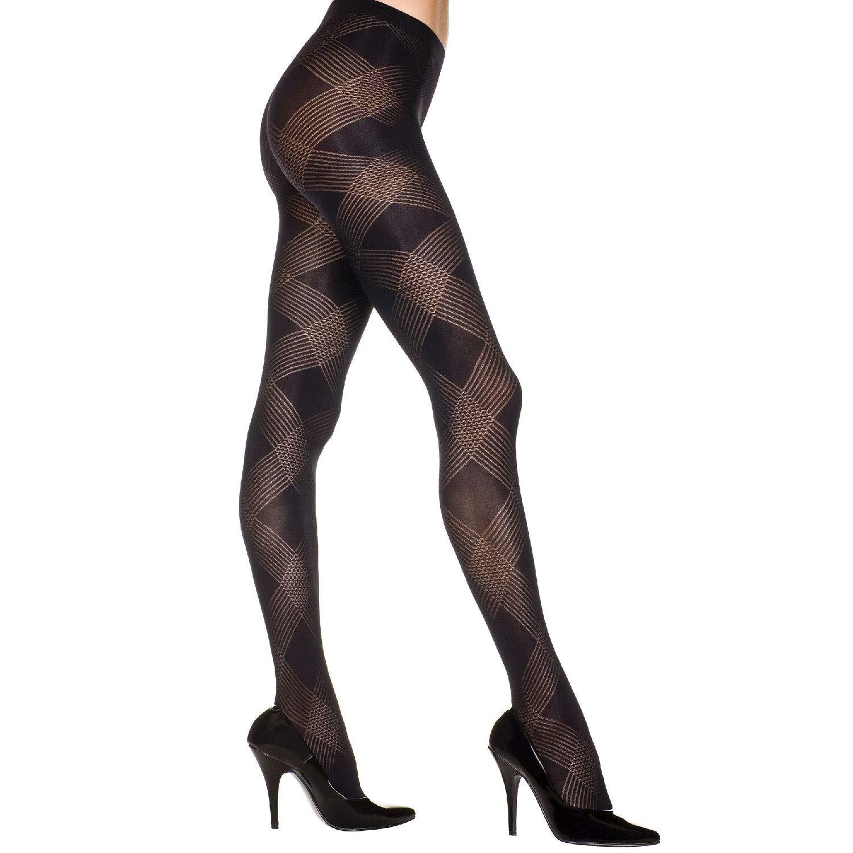 BLACK O//S SPANDEX ARGYLE DESIGN Pantyhose