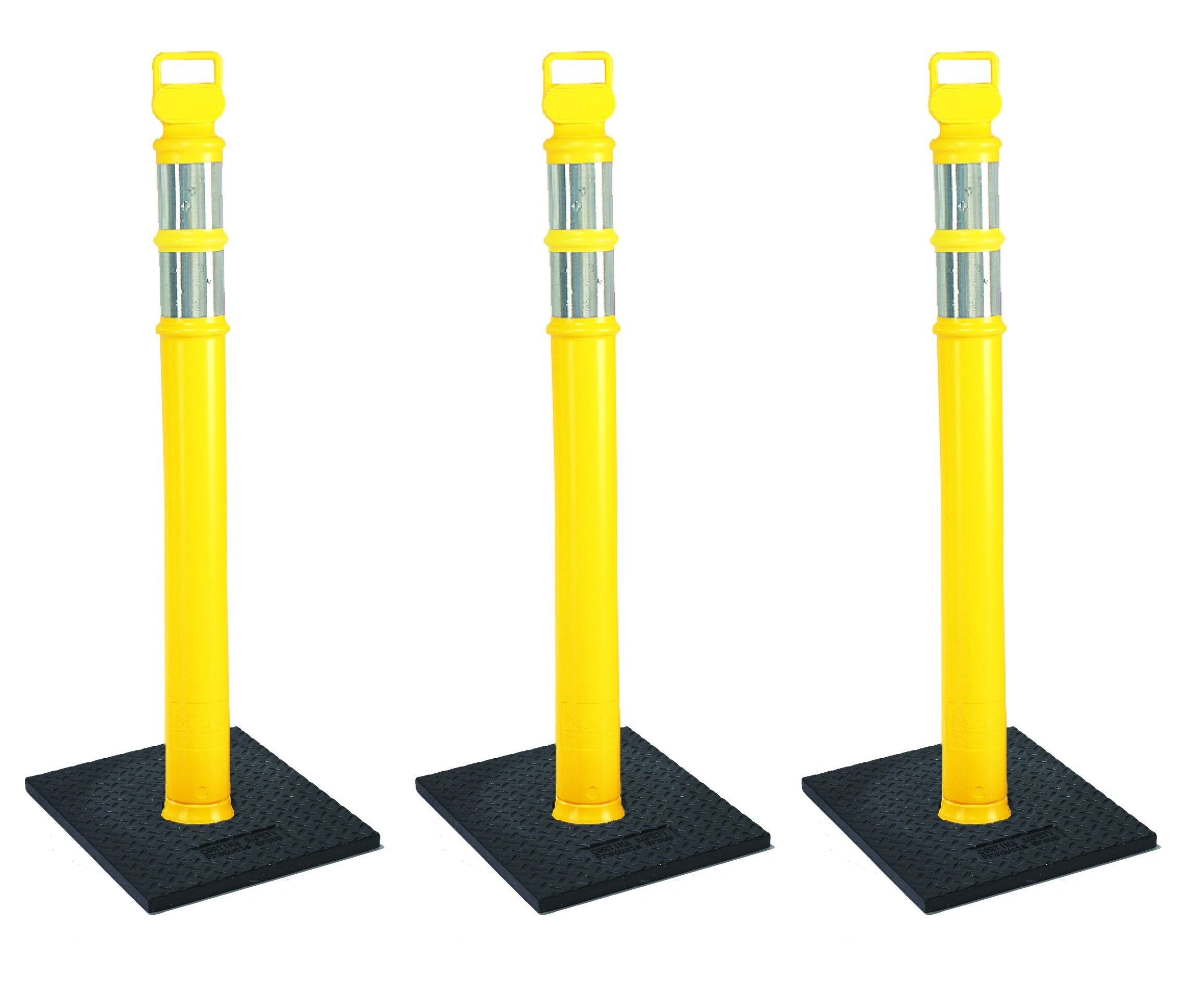 Cortina EZ Grab Delineator 45'' Post, 3'' Hip Collars with 10 lb Base, 03-747YRBC-3, Yellow, 3 Pack by Cortina