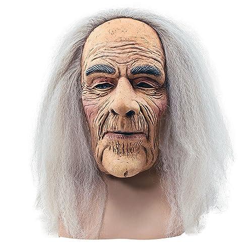 Bristol Novelty BM248 Creepy Old Man Mask and Hair, One Size