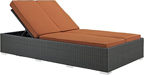 Modway Sojourn Wicker Rattan Outdoor Patio Sunbrella Fabric Double Chaise in Chocolate Tuscan