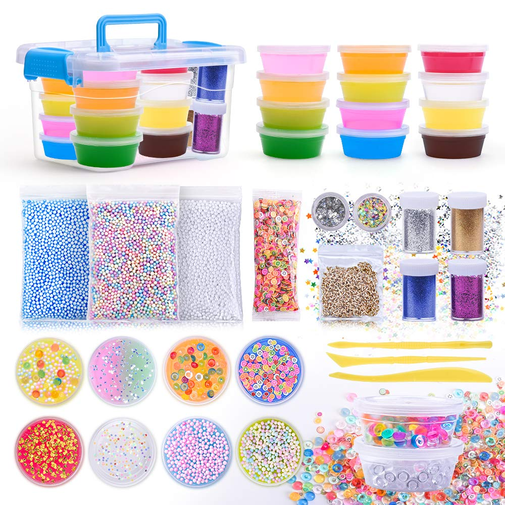 AUNOOL DIY Slime Kit Supplies for Kids Clear Crunchy Slime Kit for Gifts, Include Colorful Slime Foam Beads Glitter Fruit Slices and Fishbowl Beads