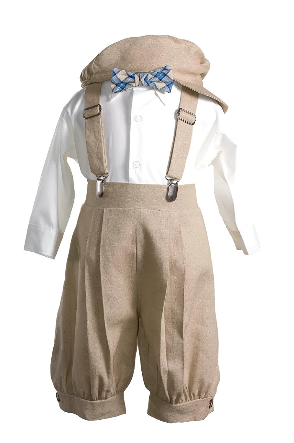 b17470f39194 Amazon.com  Boys Tan Linen Knicker Outfit Plaid Bow Tie for Baby and ...
