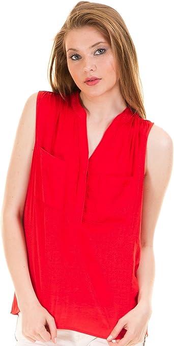 Vila Camisa sin Mangas roja Clothes (XL - Rojo): Amazon.es ...