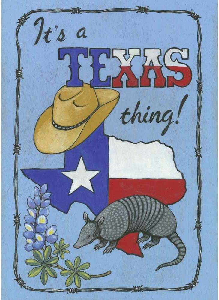 It's a Texas Thing Armadillo and Cowboy Hat 18 x 13 Rectangular Screenprint Small Garden Flag