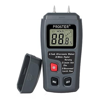 Proster TL0135, Medidor de Humedad Madera Digital Humidímetros LCD Detector de Humedad Madera 2 Pin