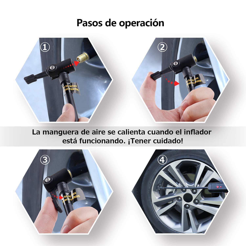 L&Z Compresor de Aire Bomba de Inflado Eléctrica Inalámbrica con Indicador de Presión LCD Digital y Luz de Emergencia para Coche/Bici/Motocicleta Otros ...