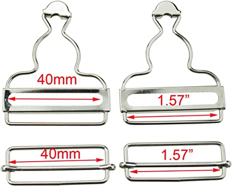 Bronze Q2055 2 inch Inside Bottom Size Bronze Suspender Buckle with Rectangle Buckle Sliding Bar Pack of 10 Sets
