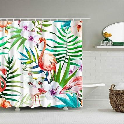 Shower Curtain DIY Creative Flamingo 3D Printing Polyester Fabric Bathroom Waterproof Mildewproof Anti