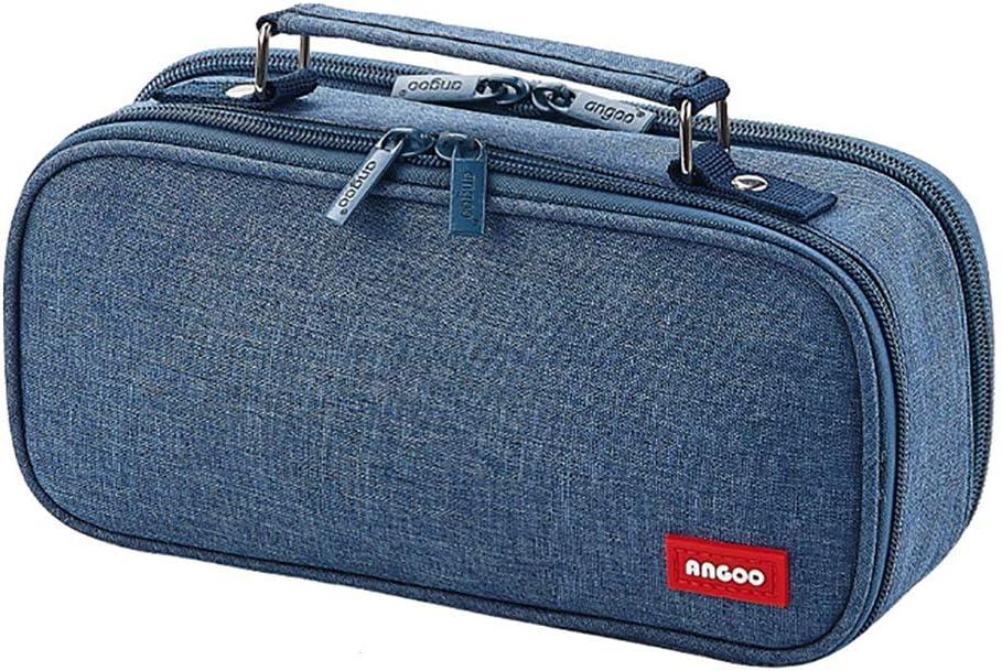 Dark Blue iSuperb Big Capacity Pencil Case Double Zipper Stationery Bag Pencil Holder Desk Organizer Portable Multi Compartments Makeup Bag