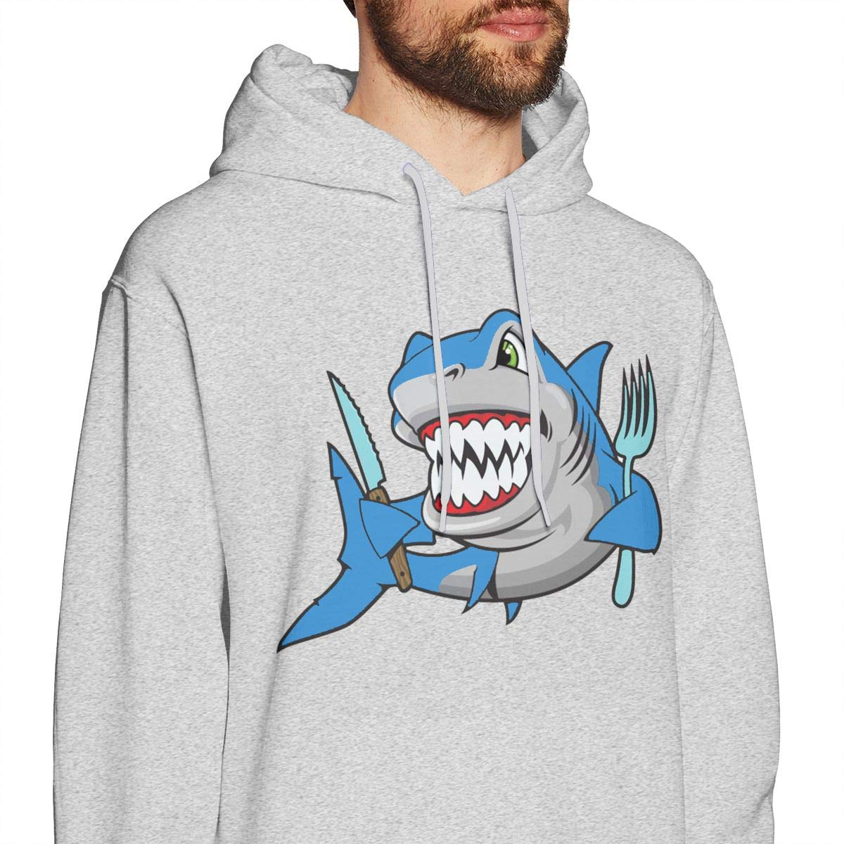 Mens Hooded Sweatshirt European Version of The Loose Hooded Fashion Tide Coat Great White Shark Logo Gray