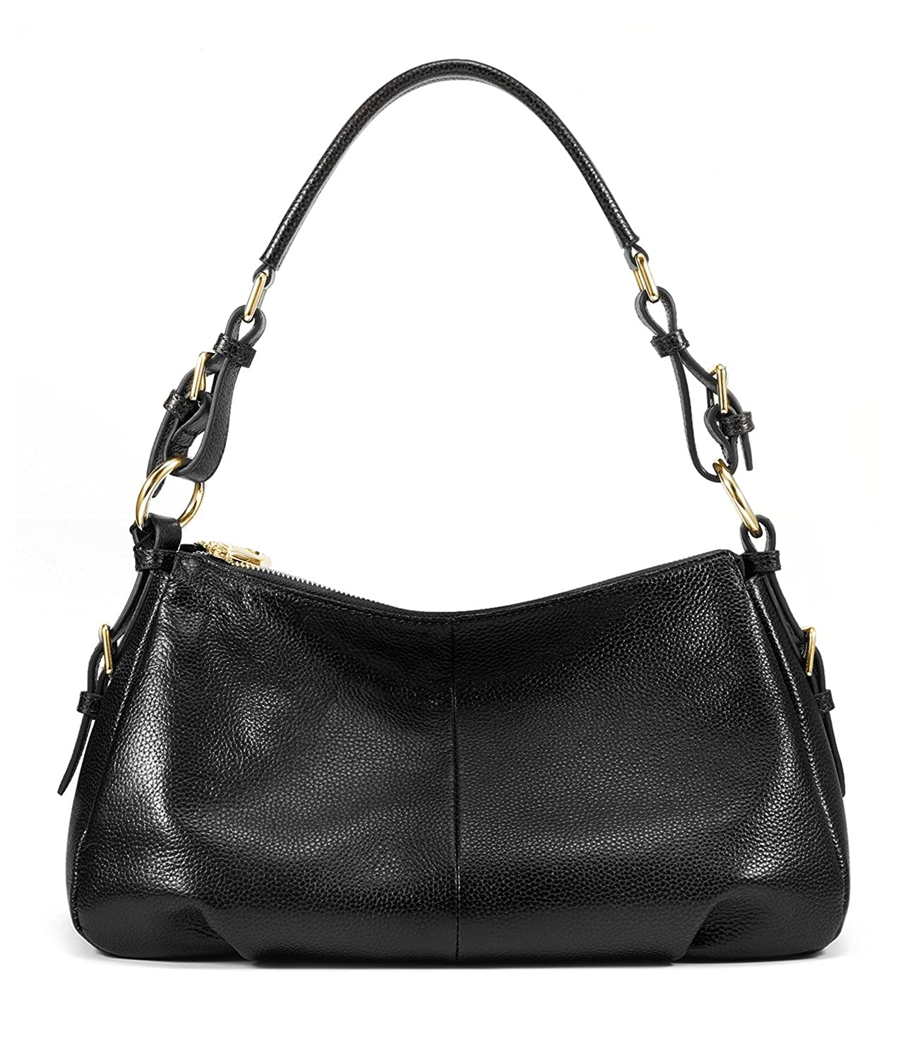 0b4d9be3bf Amazon.com  Kattee Ladies  Vintage Leather Hobo Shoulder Handbag Black   Clothing