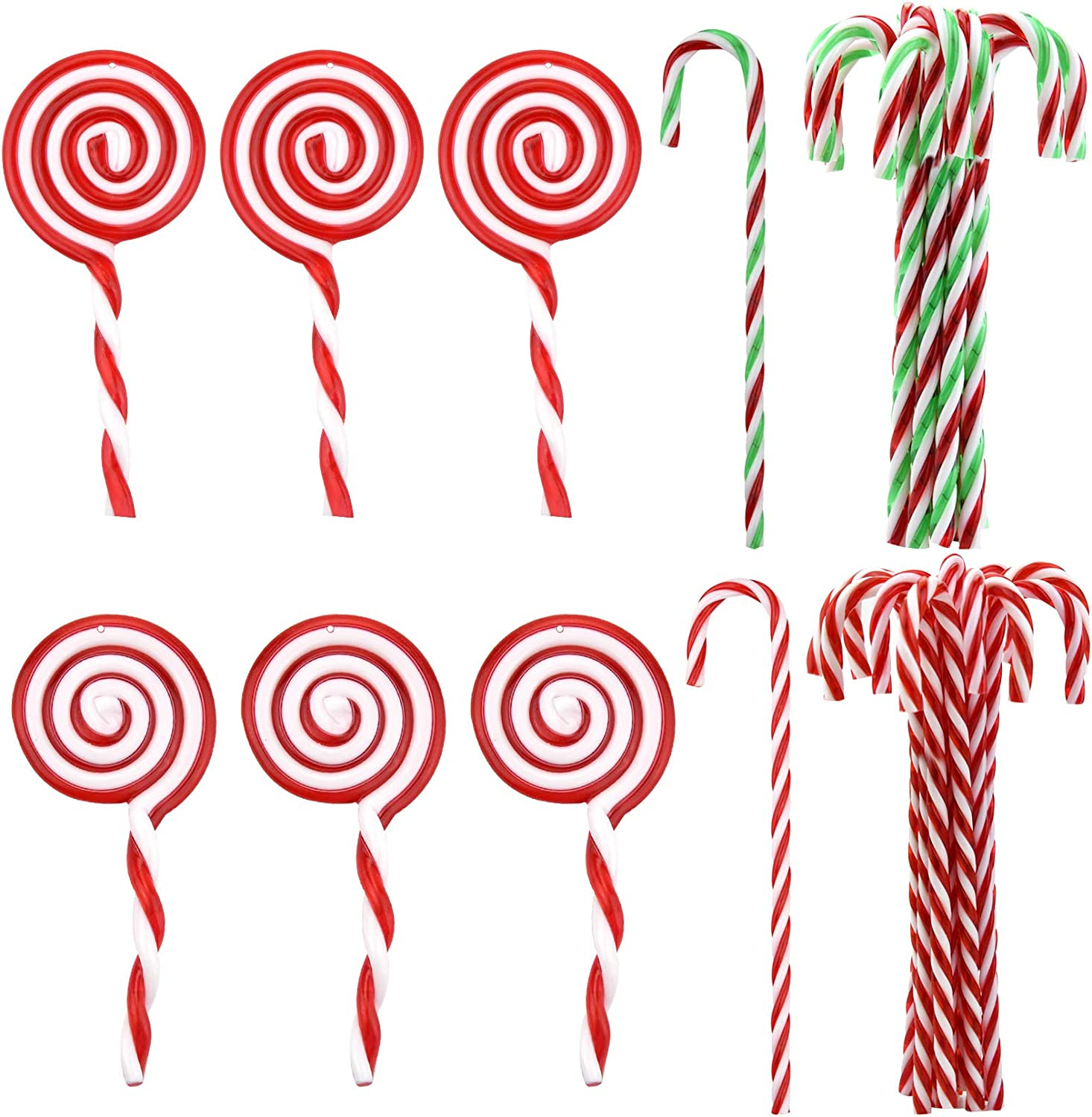 Jmkcoz Christmas Plastic Candy Cane Lollipop Ornament, 30 Pcs Christmas Tree Hanging Decoration Twisted Toy Crutch Candy Canes Stick for Home Party Holiday Xmas Embellishment ( Red White and Green )