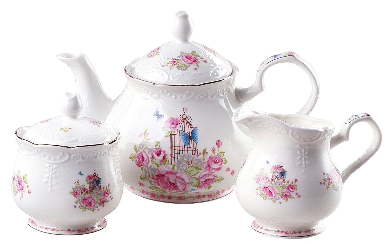 YBK Tech Euro Style Strength Porcelain Tea Sets Coffee Pot Ceramic Teapot, Milk Jug and Sugar Bowl- Pink Roses tysh