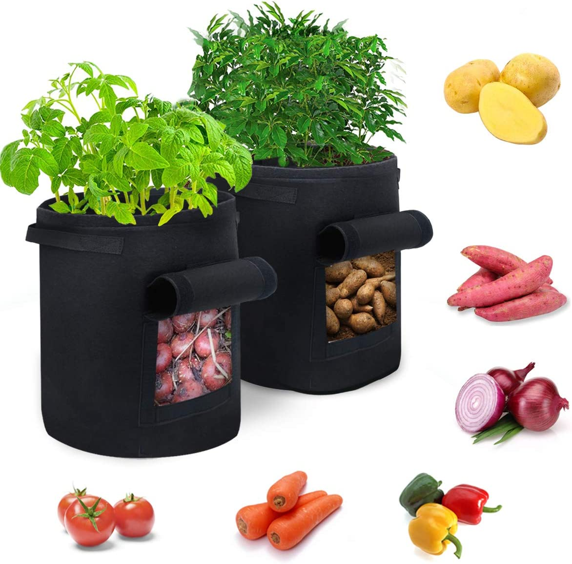 Ledeak 2 Pack 10 Gallon Garden Grow Bags Aeration Fabric Pots, Smart Thickened NonWoven Containers with Handles for Potato Tomato Vegetable Flower Planting (Black)