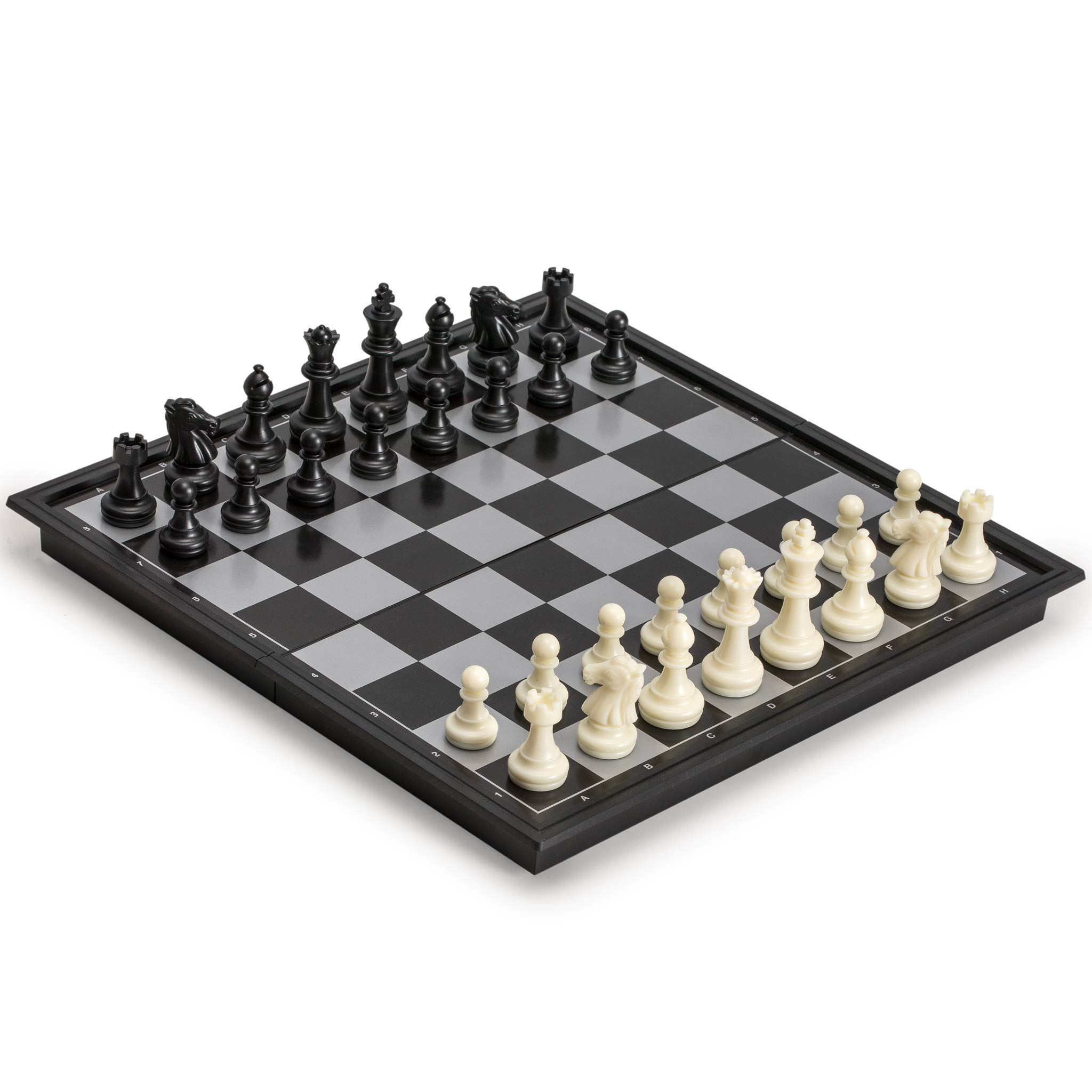 Yellow Mountain Imports 3 in 1 Travel Magnetic Chess, Checkers, Backgammon, 9.8 Inches