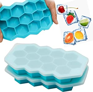 Ice Cube Tray with Lid, (Humbson) 2 Pack Silicone Ice Cube Tray for Freezer Flexible and BPA Free Stackable Easy-Release 13-Ice Trays Mold with Lid for Whiskey Cocktail and Drinks(Blue)