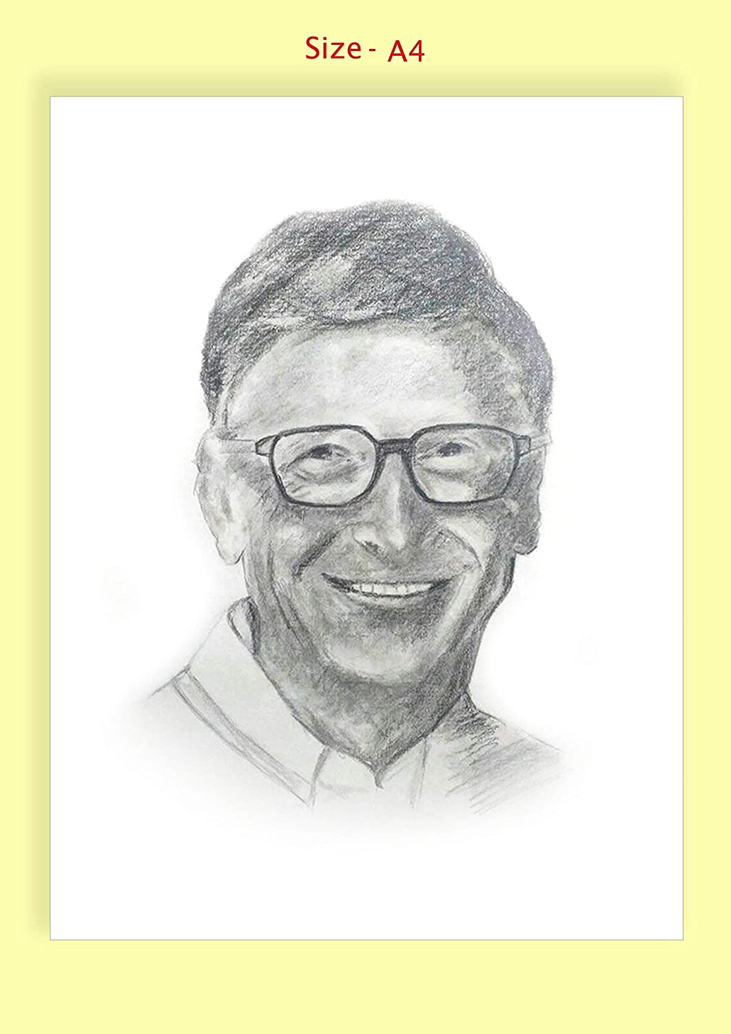 Generic pencil portrait drawing sketch of bill gates without frame