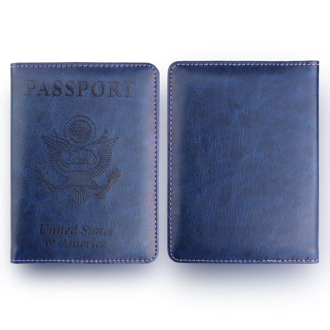 Storage Package, Yezijin Leather Passport Holder Wallet Cover Case RFID Blocking Travel Wallet (Blue) by Yezijin (Image #3)