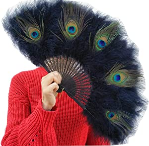 XNN 20s Vintage Style Peacock & Black Marabou Feather Fan Flapper Accessories for Costume Halloween Dancing Party Tea Party Variety Show 55x30cm (Black)