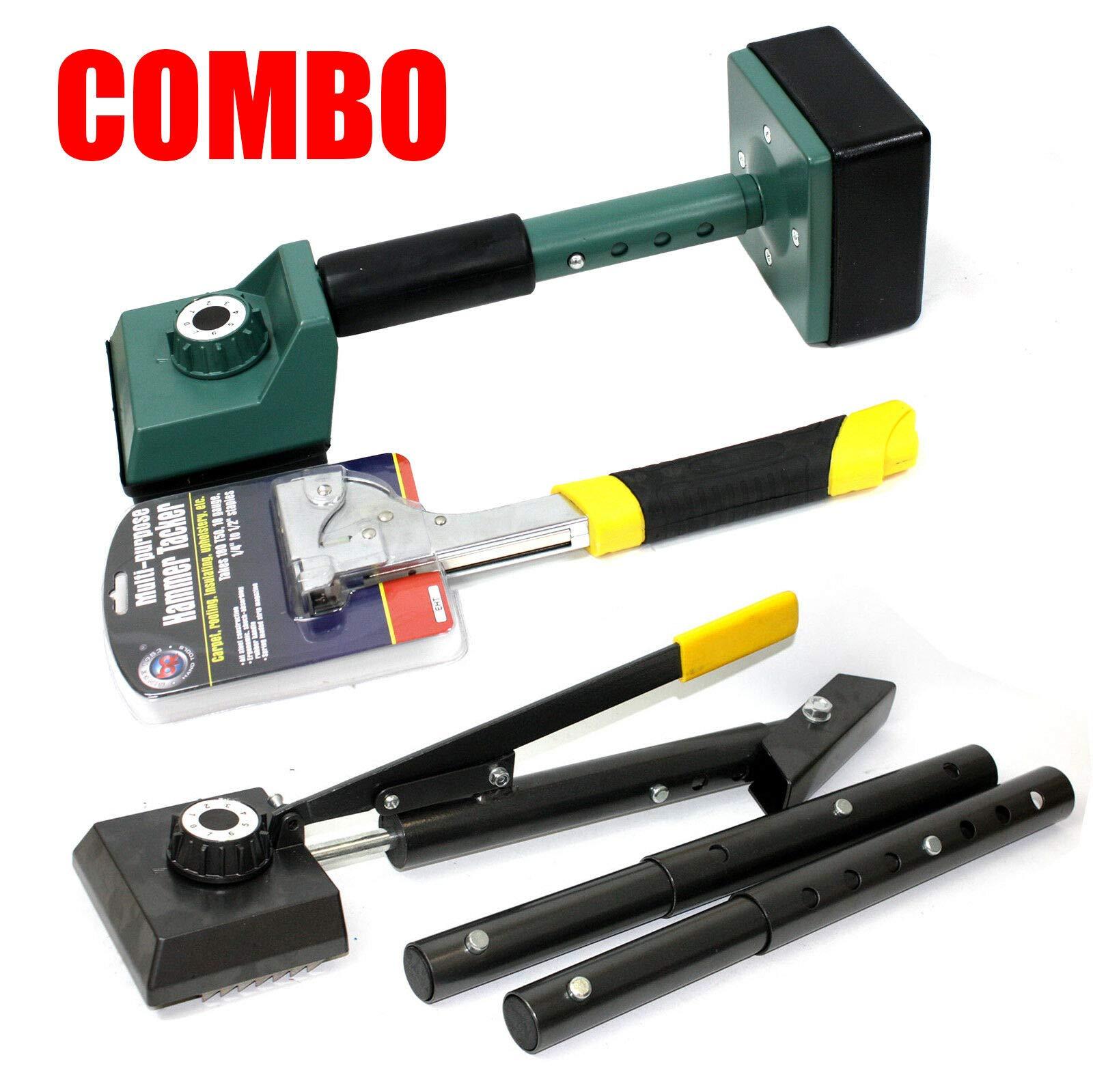 9TRADING Combo Carpet Hammer Tacker Stapler & Lever Action Stretcher & Knee Kicker Set by 9TRADING