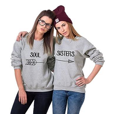 cb312a3ac5c206 Sweatshirt Best Friends Pullover Sister BFF Pullis Für Beste Freundinnen  Hoodie Damen Weiß Schwarz Rundhals Buchstaben