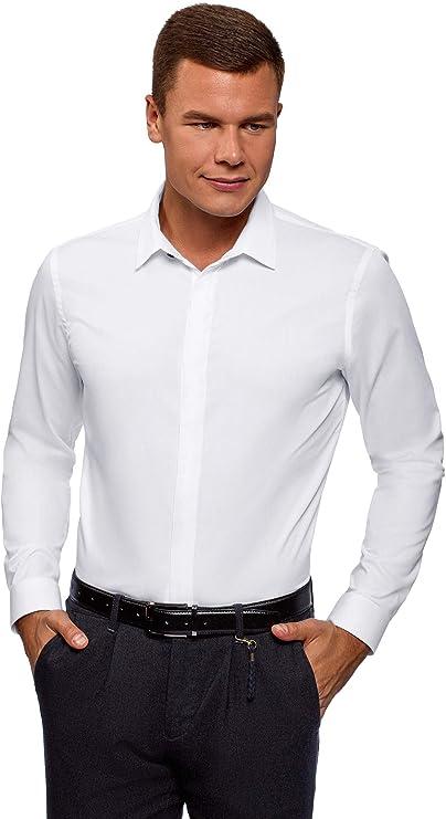 oodji Ultra Hombre Camisa Entallada con Cierre Oculto: Amazon.es: Ropa y accesorios