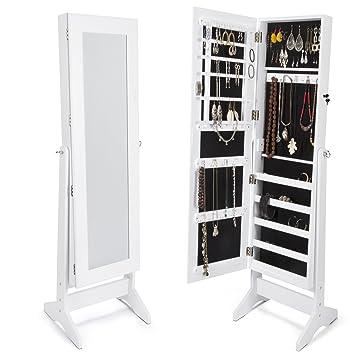 Armoire à Bijoux Rangement Avec Miroir Xxl 160cm Laqué Blanc Et