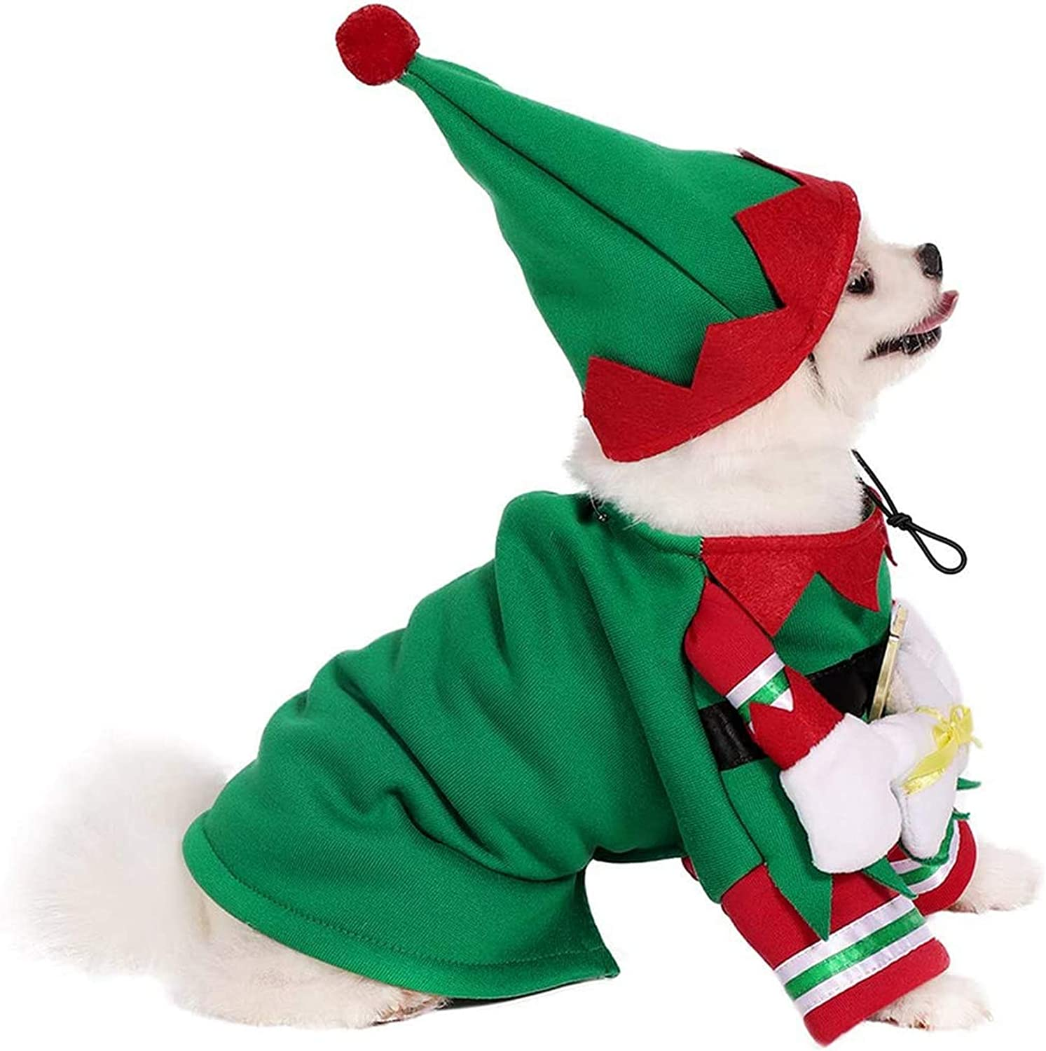 Mogoko Dog Cat Christmas Elf Costume Funny Pet Cosplay Dress with Cap Puppy Fleece Outfits Warm Clothes for Xmas
