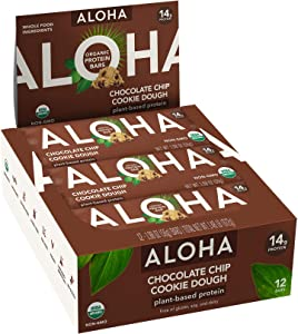 ALOHA Organic Plant Based Protein Bars |Chocolate Chip Cookie Dough | 12 Count, 1.9oz Bars | Vegan Snacks, Low Sugar, Gluten Free, Low Carb, Paleo, Non-GMO, Stevia Free, No Sugar Alcohols