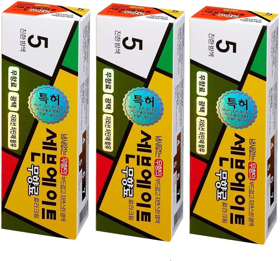 Dongsung Bio pharmaceutical Siete ocho tinte de pelo sin amoniaco color cremoso 5 nuevo tipo hecho en corea (pack de 3) castaño oscuro