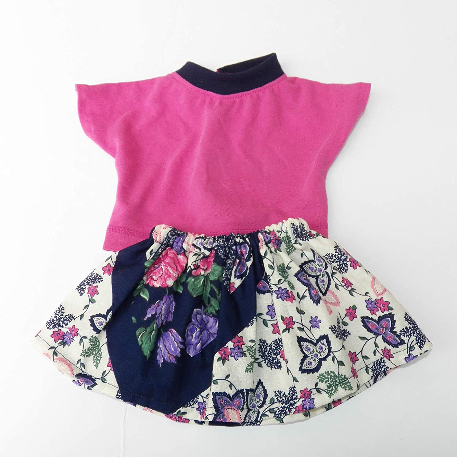 Cabbage Patch Doll Clothes Fits 16 Inch Girl Pink Blue T shirt and Butterfly Skirt No Doll