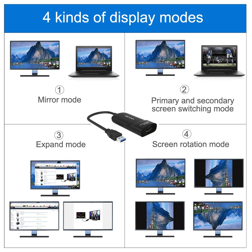 Wavlink USB 2.0 to VGA DVI HDMI Video Graphics Display Adapter for Multiple Monitors Display up to 1920 x 1080 for Windows 10//8.1//8//7