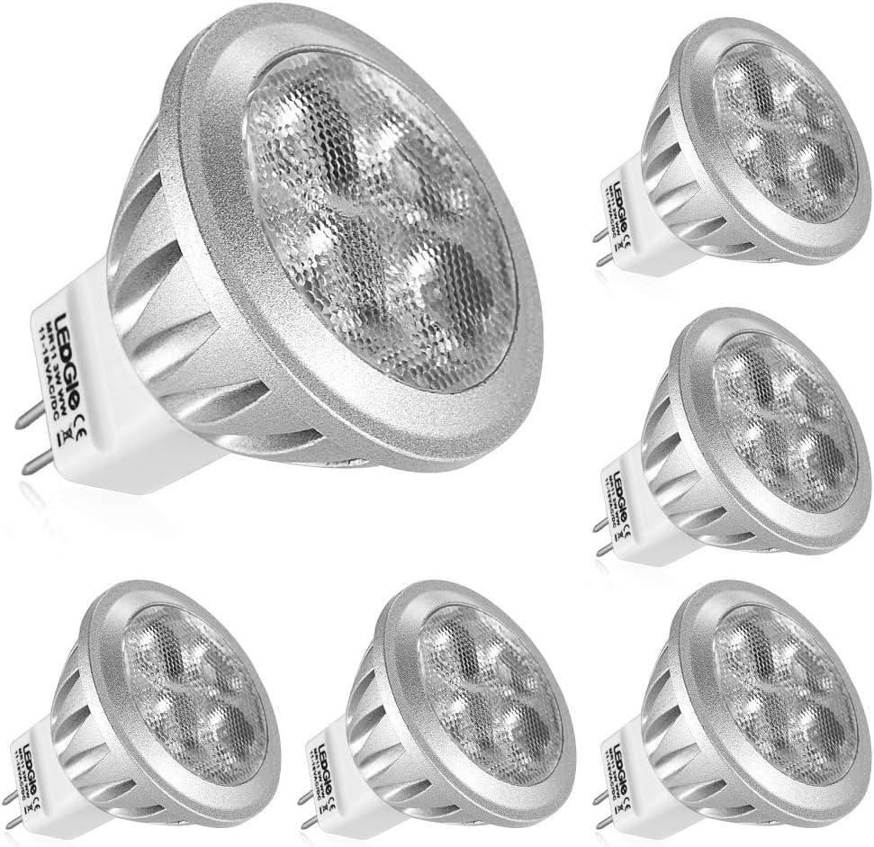 LEDGLE Bombillas LED de 3W MR11 GU4 No Regulable, 4 Chips LED Blanco Cálido 3000K 260lm, Pack de 6 Unidades
