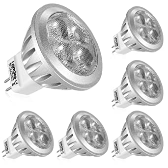 LEDGLE Bombillas LED de 3W MR11 GU4 No Regulable, 4 Chips LED Blanco Cálido 3000K