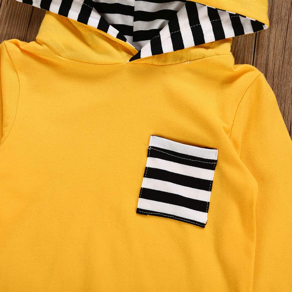 Toddler Baby Boys Girls Adorable Outfit Set 3D Bunny Rabbit Ear Cotton Stripe Long Sleeves Top Hooded+Pants