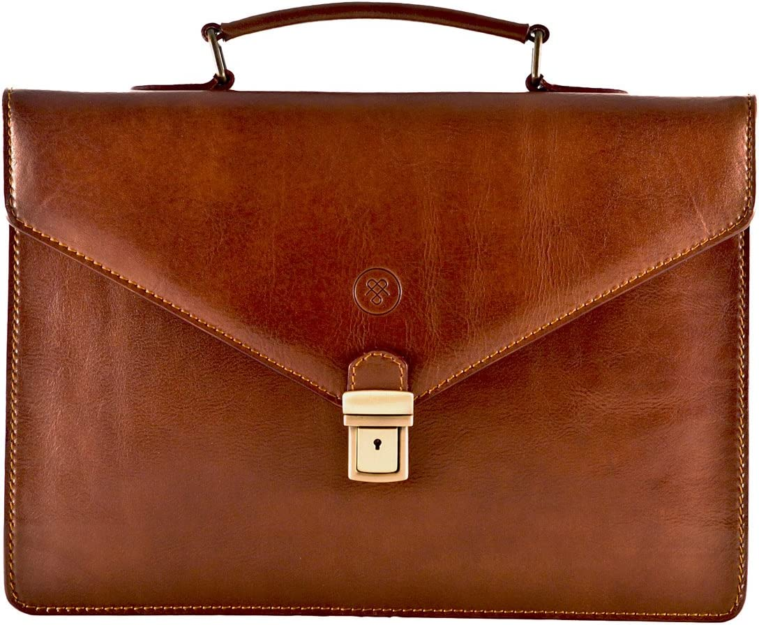 Maxwell Scott Men's Italian Leather Slim Briefcase - Lorenzo Tan