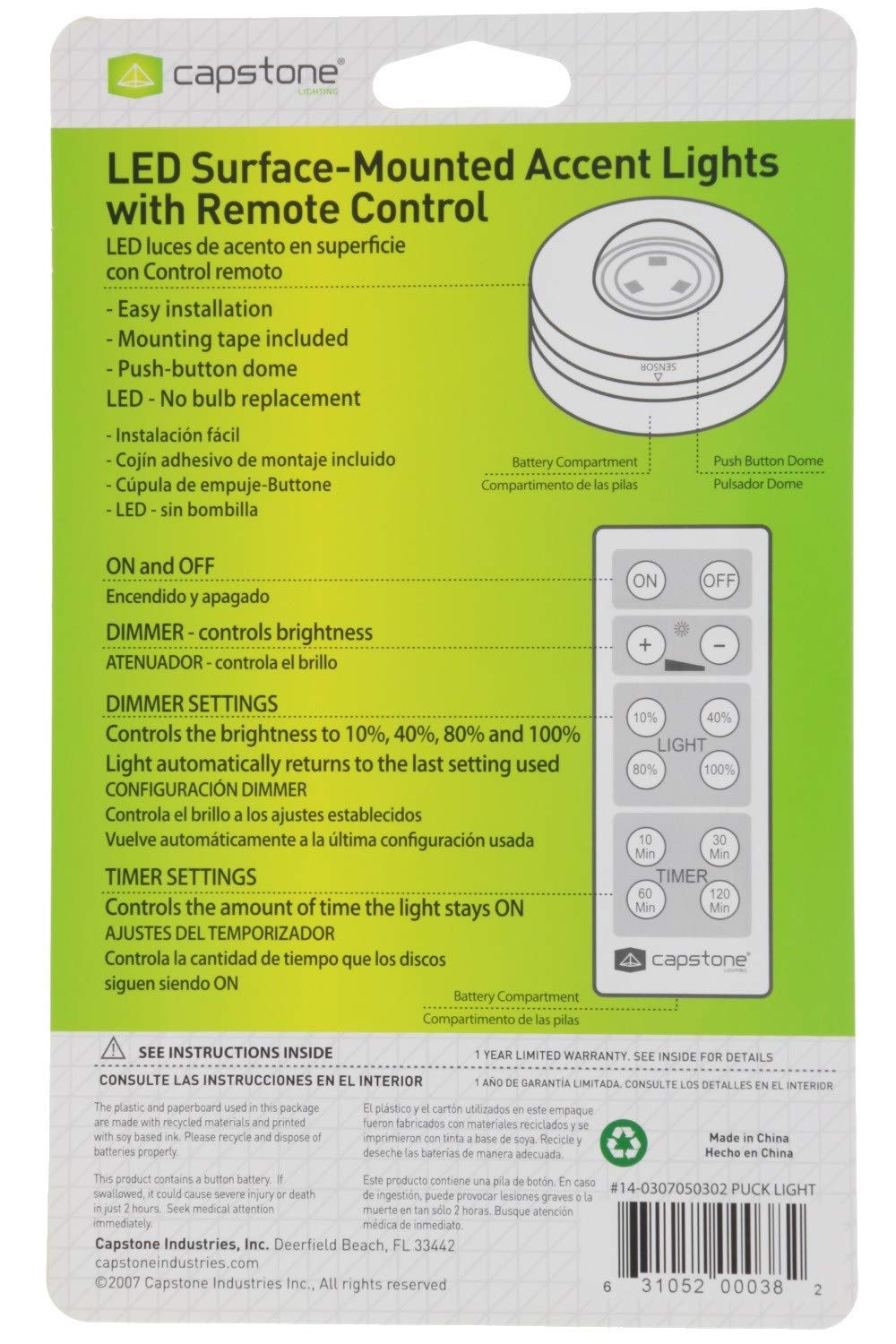 Capstone Wireless LED Surface-Mounted Accent Lights - Push Button Dome with Adhesive Tape & Remote Control - 3 Bright White LED Bulbs Ideal for Holiday, ...