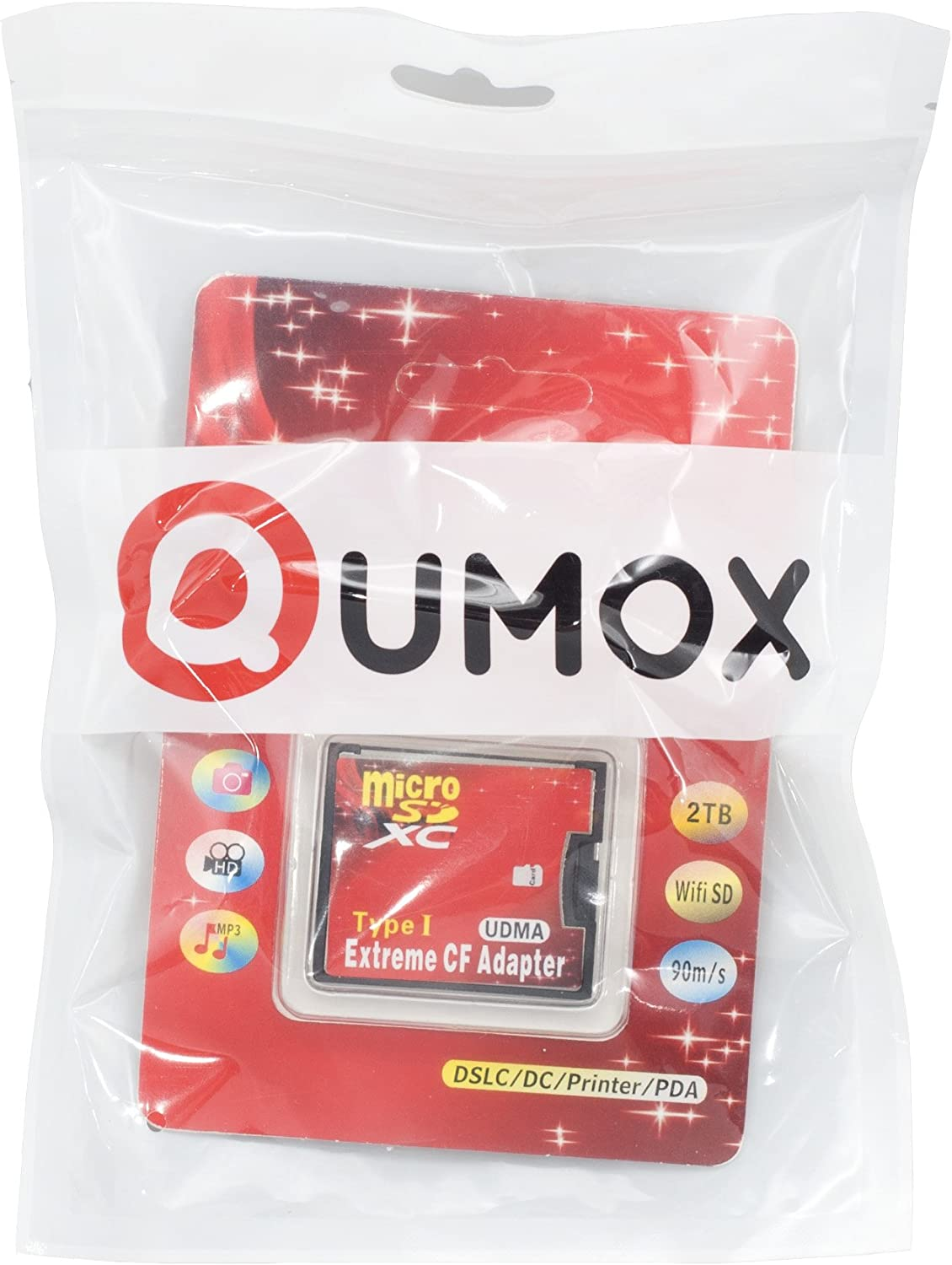 QUMOX microSD to CF Compact Flash Memory Card Adapter Reader Type 1 WiFi