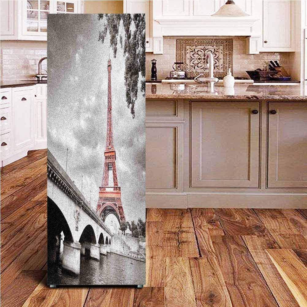 "Paris City Decor 3D Door Wall Fridge Door Stickers Mural,Eiffel Tower Bridge Capital City Cloudscape Monochrome Selective Colorization Picture Print Wallpaper Murals Stickers for Refrigerator,24x70"""