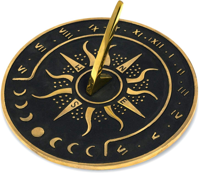 "Sunward Brass Garden Sundial Clock - 8.5"" Diameter Sundial Clock with Polished Brass Highlights"