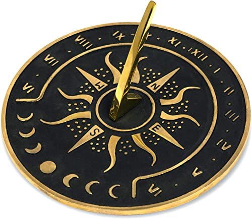 Sunward 8.5 Diameter Garden Sundial with Polished Brass Highlights