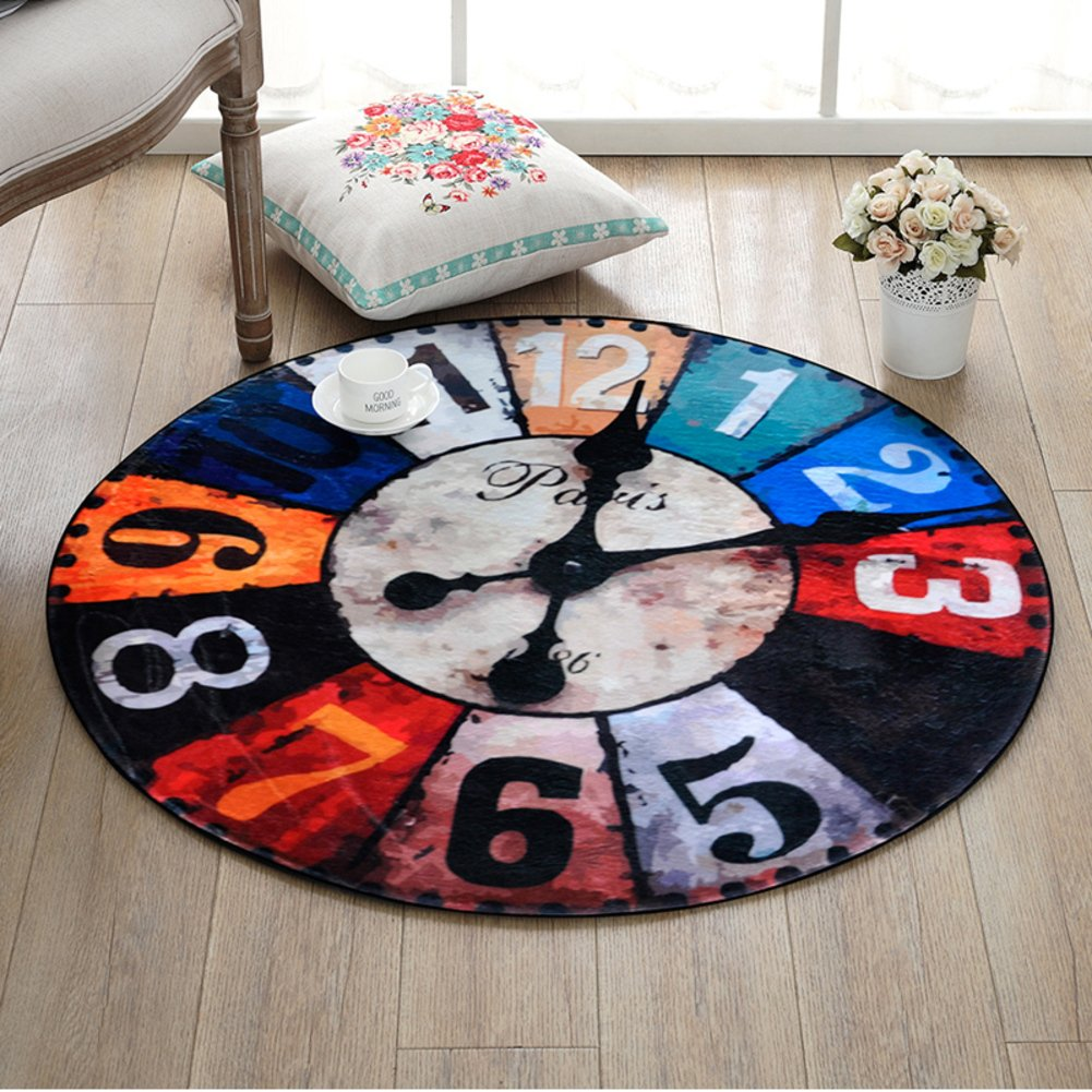 DW&HX decorative rugs,Round,Europe and america retro clock,Runner area,Sofa side,Hanging basket blanket,Children mat Home Bedroom,Desk computer chair mat-A diameter100cm(39inch)