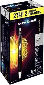 Uni-Ball 1905406 Signo 207 Retractable Gel Pens, Medium Point, Black Ink, 12 Count Plus 2 Bonus Pens